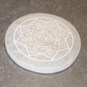 Aum mandala XL van Seleniet / Satijnspaat