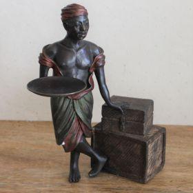 Uniek bronzen beeld reiziger