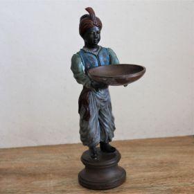 Uniek Bronzen beeld van jongen met schaal