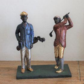 Uniek Bronzen beeld van 2 golfers