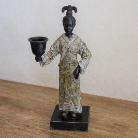 Uniek Bronzen beeld vrouw met kandelaar
