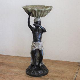 Uniek bronzen beeld van man met schaal
