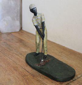 Uniek bronzen beeld van golfer