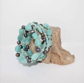Zomer Collectie armband met Blauwe Aragoniet