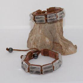 Bergkristal armband op Leer