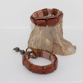 Goudsteen Bruin armband op Leer