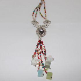925 Zilvere Ketting van India'se kralen met edelstenen