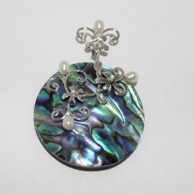 Paua Schelp met pareltjes hanger in Zilver