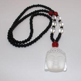 Geluks Amulet Bergkristal Boedhahoofd met Zwarte Onyx