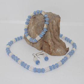 3 delige set van Blauwe facetgeslepen glas kralen