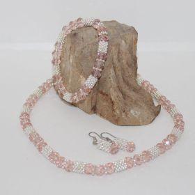 3 delige set van roze facetgeslepen glas kralen